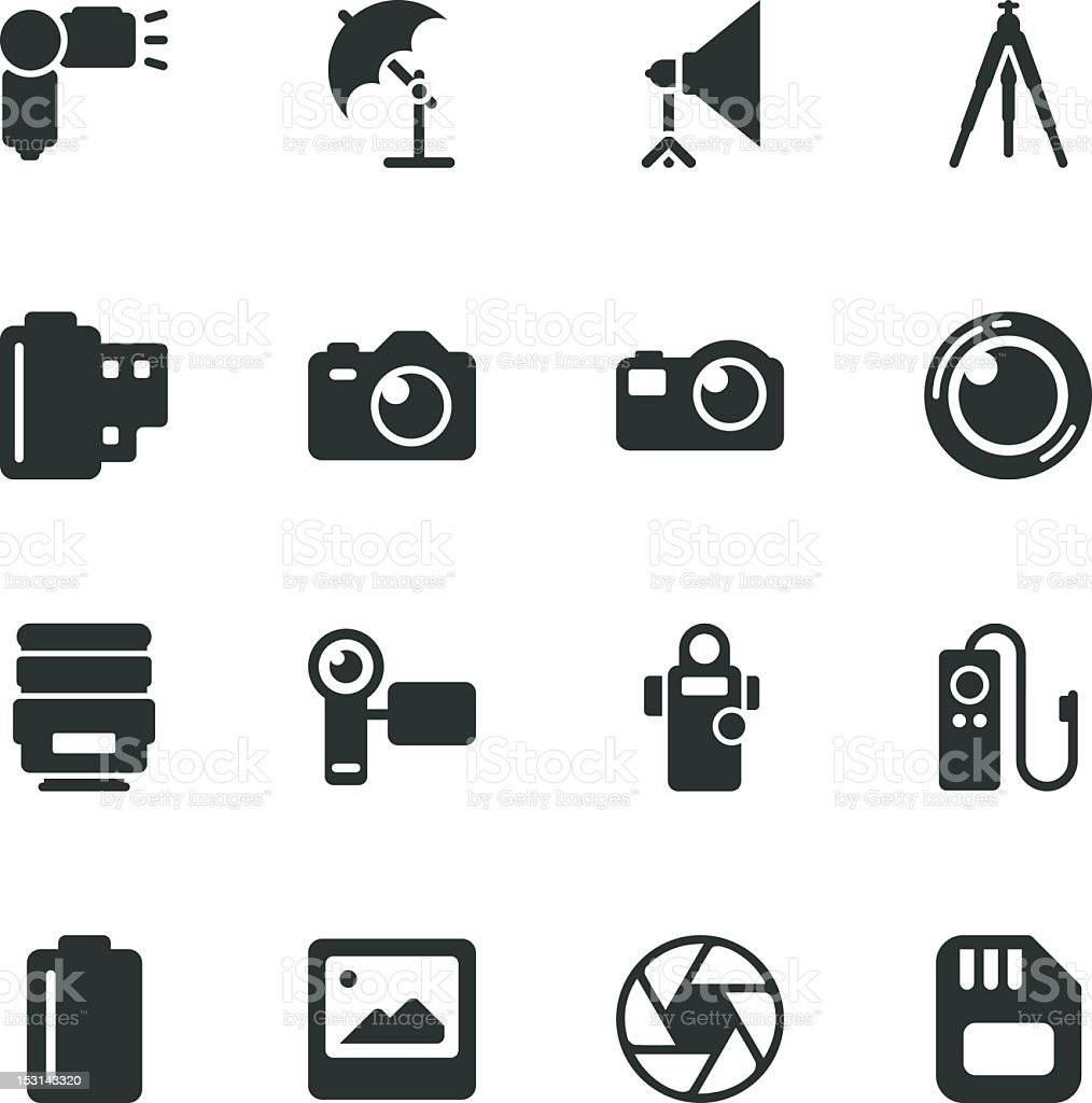 Photography Silhouette Icons vector art illustration