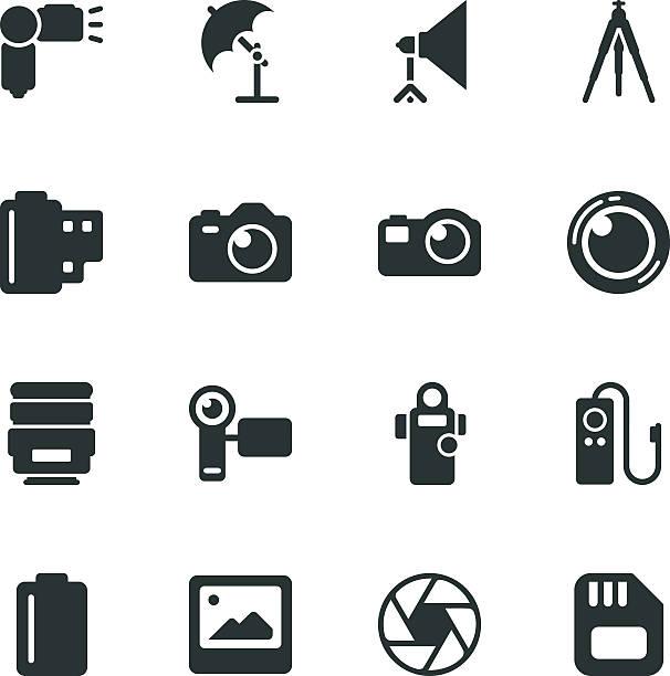 stockillustraties, clipart, cartoons en iconen met photography silhouette icons - spiegelreflexcamera