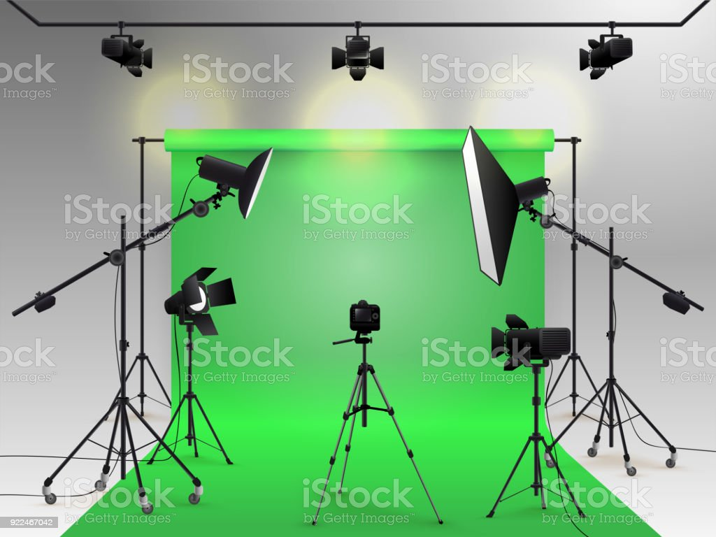Photography studio vector. Photo studio green blank background with soft box light, camera, tripod and backdrop. Vector illustration. Isolated on white background vector art illustration