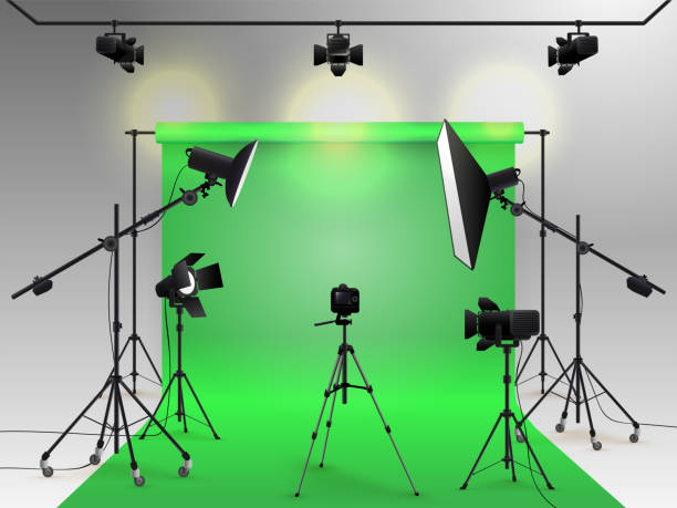 studio vector chroma key clip camera illustrations blank box backdrop similar artist