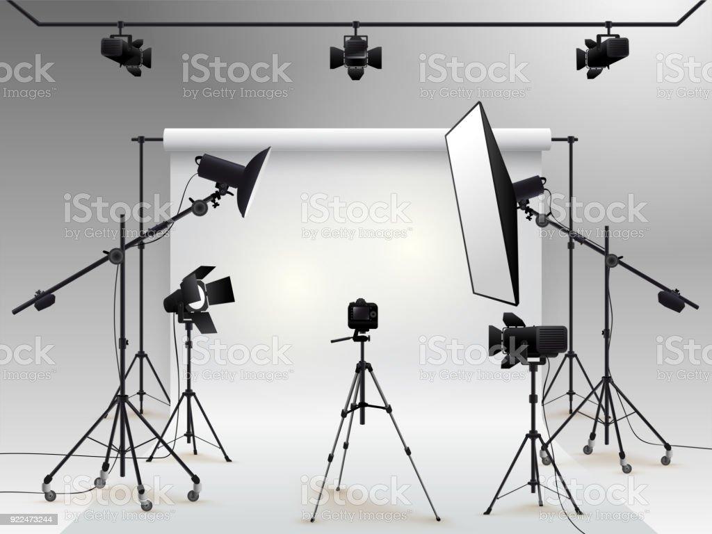 Bon Vecteur De La Photographie De Studio. Photo Studio Blanc Fond Blanc Avec  Lumière Douce Boîte
