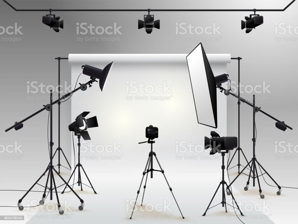 Photography studio vector. Photo studio white blank background with soft box light, camera, tripod and backdrop. Vector illustration. Isolated on white background vector art illustration
