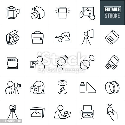 A set of photography icons that include editable strokes or outlines using the EPS vector file. The icons include a DSLR camera, digital camera, roll of film, camera flash, image editing, images being viewed on a tablet pc, camera bag, landscape, photography lights, camera lens, data card, camera equipment, person taking a picture, battery, camera lens filters, tripod, pictures, printing pictures and a camera remote to name a few.