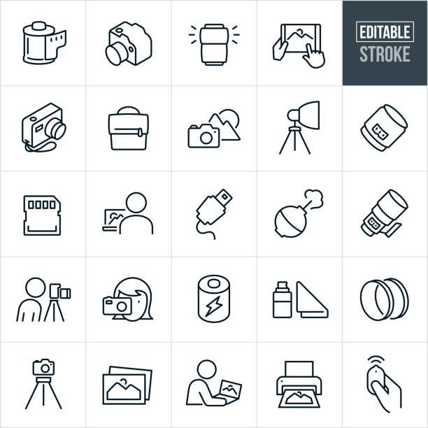 fotografie dünne linie icons - editierbare strich - fotografische themen stock-grafiken, -clipart, -cartoons und -symbole