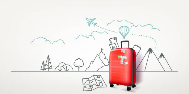 ilustrações de stock, clip art, desenhos animados e ícones de photoreal red suitcase with cityscape background. world travel vector concept - travel