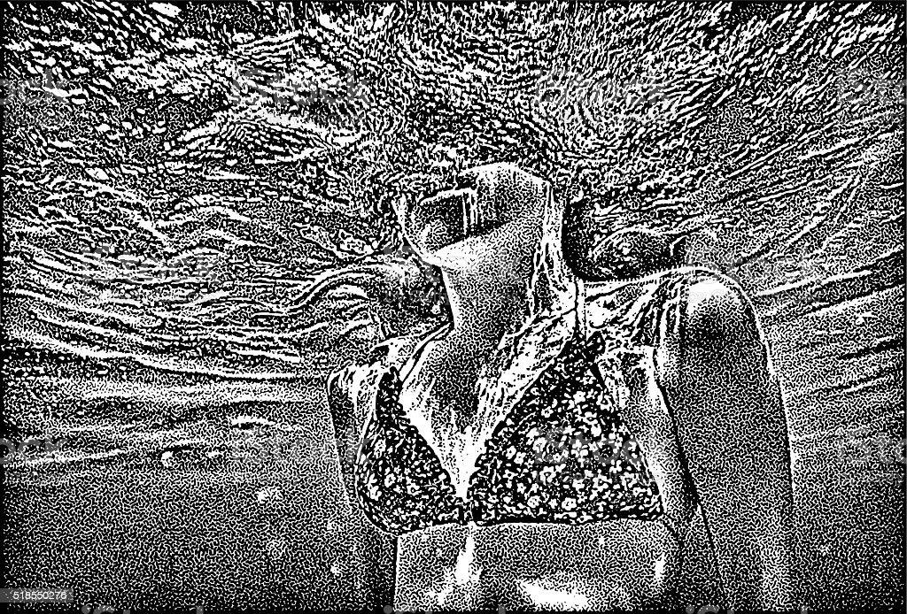 Photorealism illustration of underwater closeup of woman swimming vector art illustration