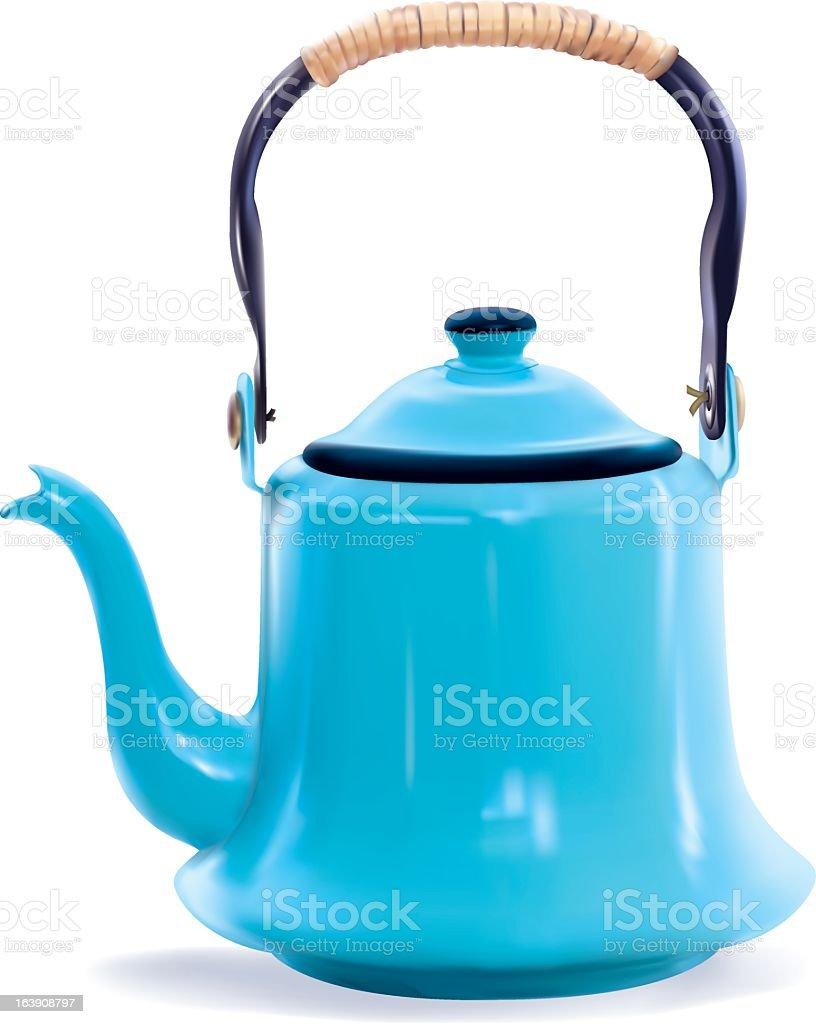 Photo-realistic Blue Coffee Pot royalty-free stock vector art