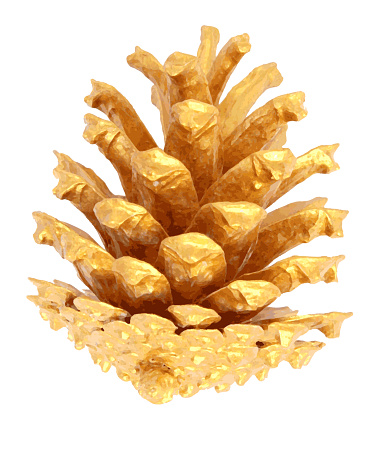 Photorealistic gold sweet small single pine cone isolated on white background - illustration in vector - Christmas time theme