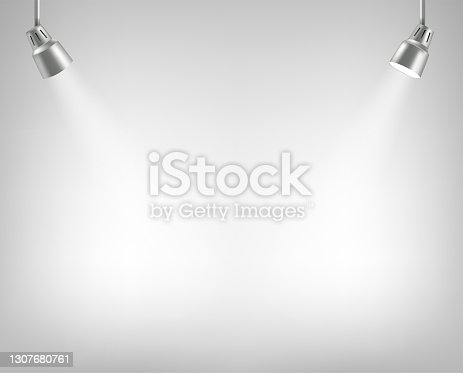 istock Photorealistic illuminated stage with projectors. Presentation vector layout 1307680761