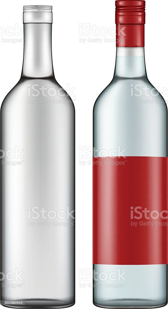 Photo-realistic illustration of a vodka bottle. vector art illustration