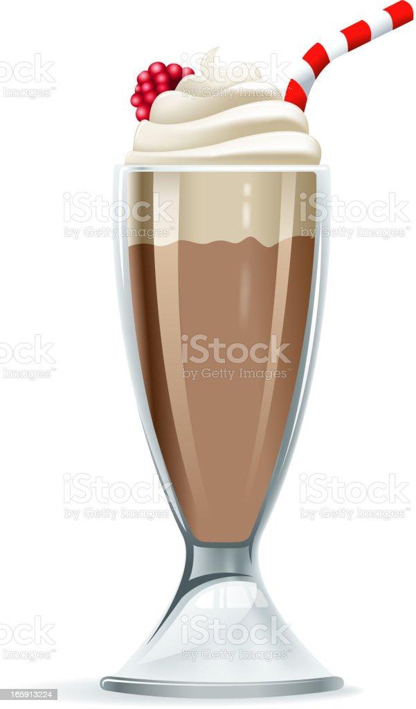 Photorealistic illustration of chocolate milkshake vector art illustration