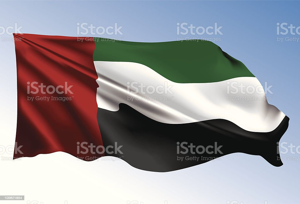 Photorealistic illustration of UAE flag - 免版稅中東圖庫向量圖形