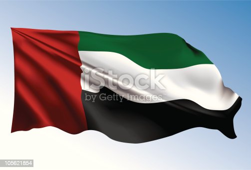 istock Photorealistic illustration of UAE flag 105621854