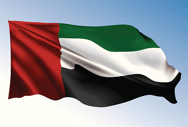 photorealistic illustration of uae flag - uae flag stock illustrations