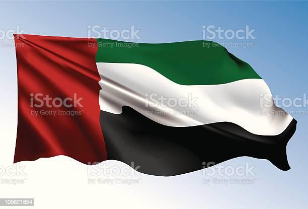 Photorealistic Illustration Of Uae Flag向量圖形及更多中東圖片