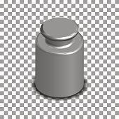 Photorealistic measuring weight for scales in isometric, vector illustration.