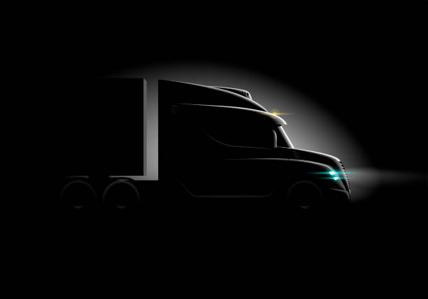 photorealistic truck in the dark in the light side view photorealistic truck in the dark in the light side view, vector illustration semi truck stock illustrations