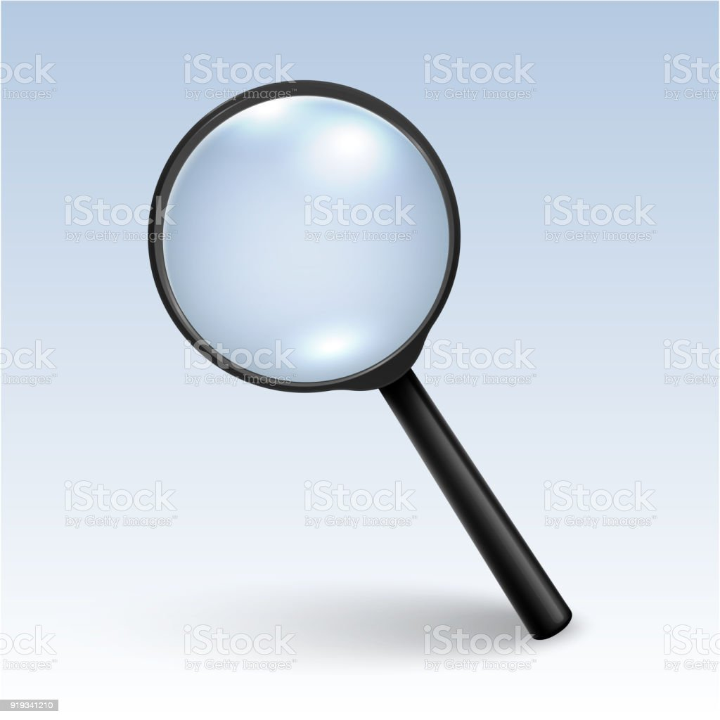 Photorealistic Vector 3d Black Magnifying Glass Or Loup Icon