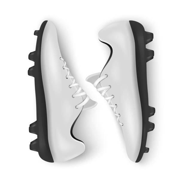 ilustrações de stock, clip art, desenhos animados e ícones de photo-realistic vector 3d white blank pair mens football or soccer boots, shoes closeup isolated on white background. soccer game professional footballers equipment. design template or mockup for graphics - calçado com pitões