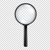 Photo-realistic vector  black magnifying glass or Loupe icon closeup isolated on transparency grid background. Design template for graphics