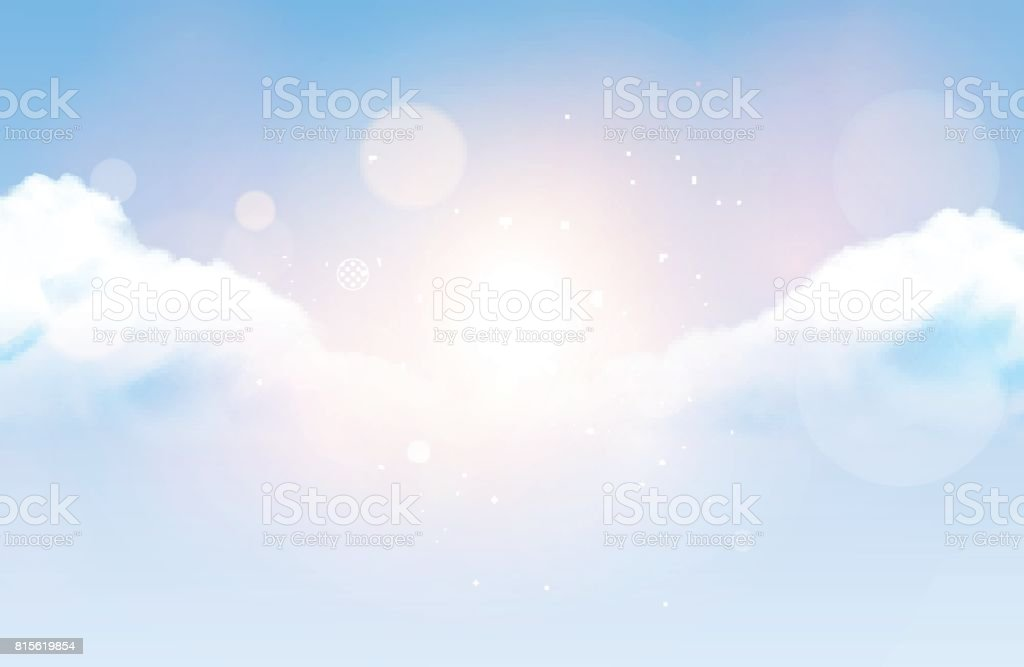 Céu nublado de vetor fotorrealista - ilustração de arte em vetor