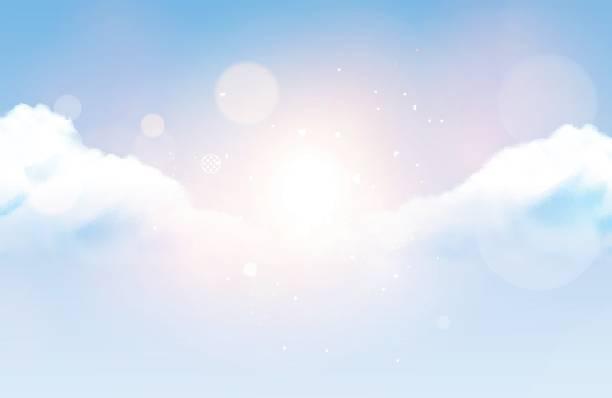 photorealistic vector cloudy sky - cloud sky stock illustrations