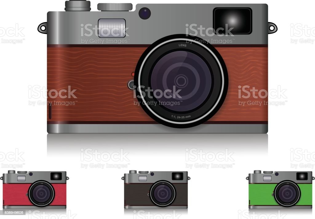 Camera Vintage Vector Free : Photorealistic vintage mirrorless camera wooden texture with