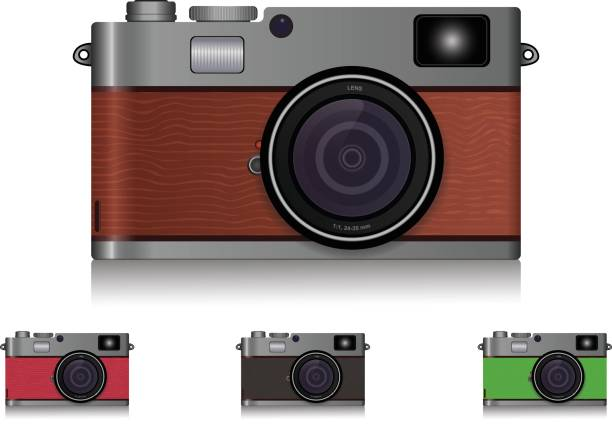 Photo-realistic vintage mirror-less camera wooden texture with multiple colors vector art illustration