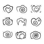 Photos. Camera, logo vector set. Trendy Hipster camera. photo icon