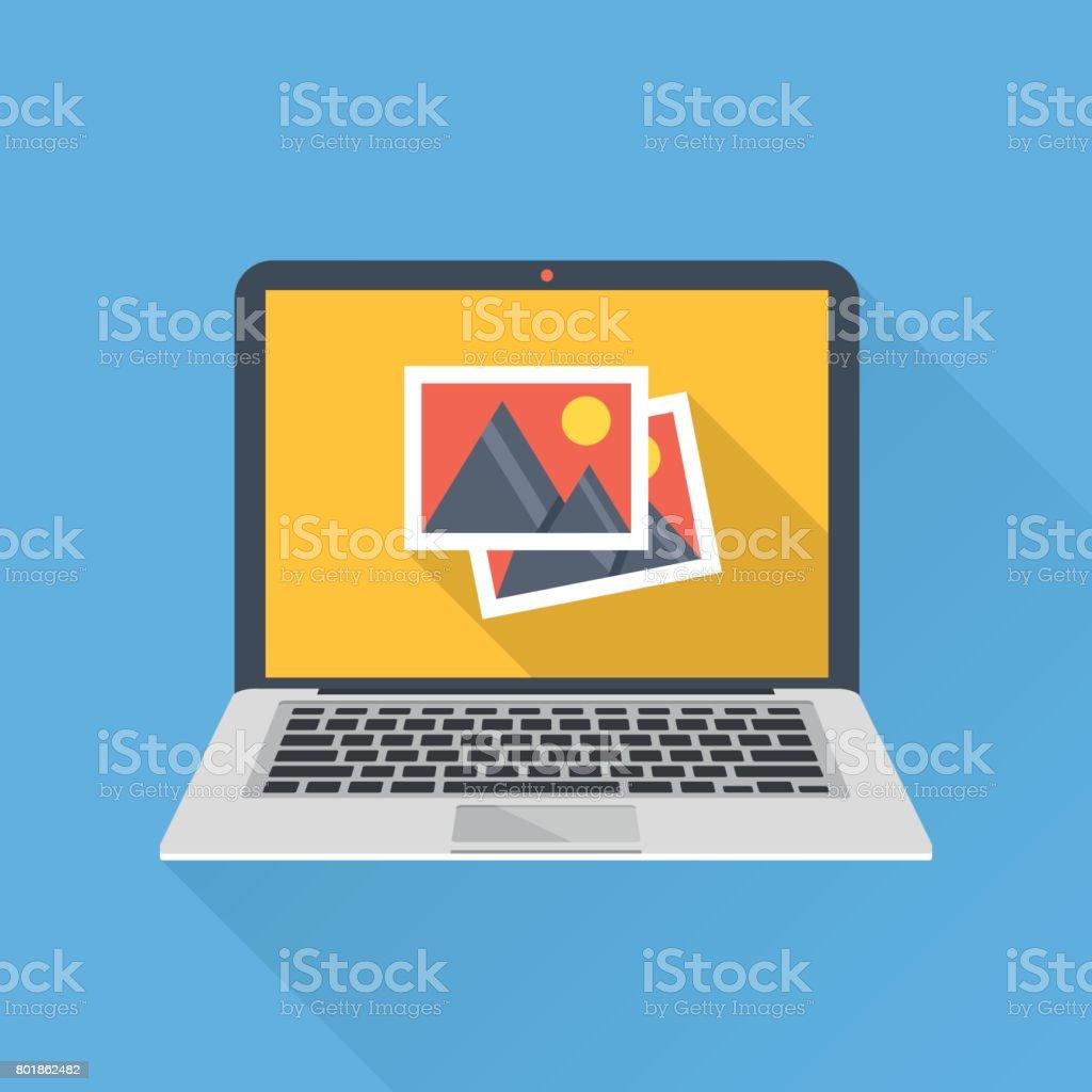 Fotos Symbol Auf Dem Laptopbildschirm. Multimedia, Austausch Von Bildern,  Digitales Foto