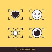 Photos Logo. Camera, logo vector set. Trendy Hipster camera. photo icon