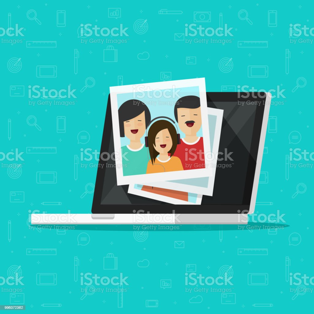 Fotos auf Laptop-Computer-Bildschirm-Vektor-Illustration, flache Cartoon Foto-Karten am pc anzeigen, Vorstellung von Fotografie Galerie anzeigen, Multimedia-Album, Digitalfotos clipart – Vektorgrafik