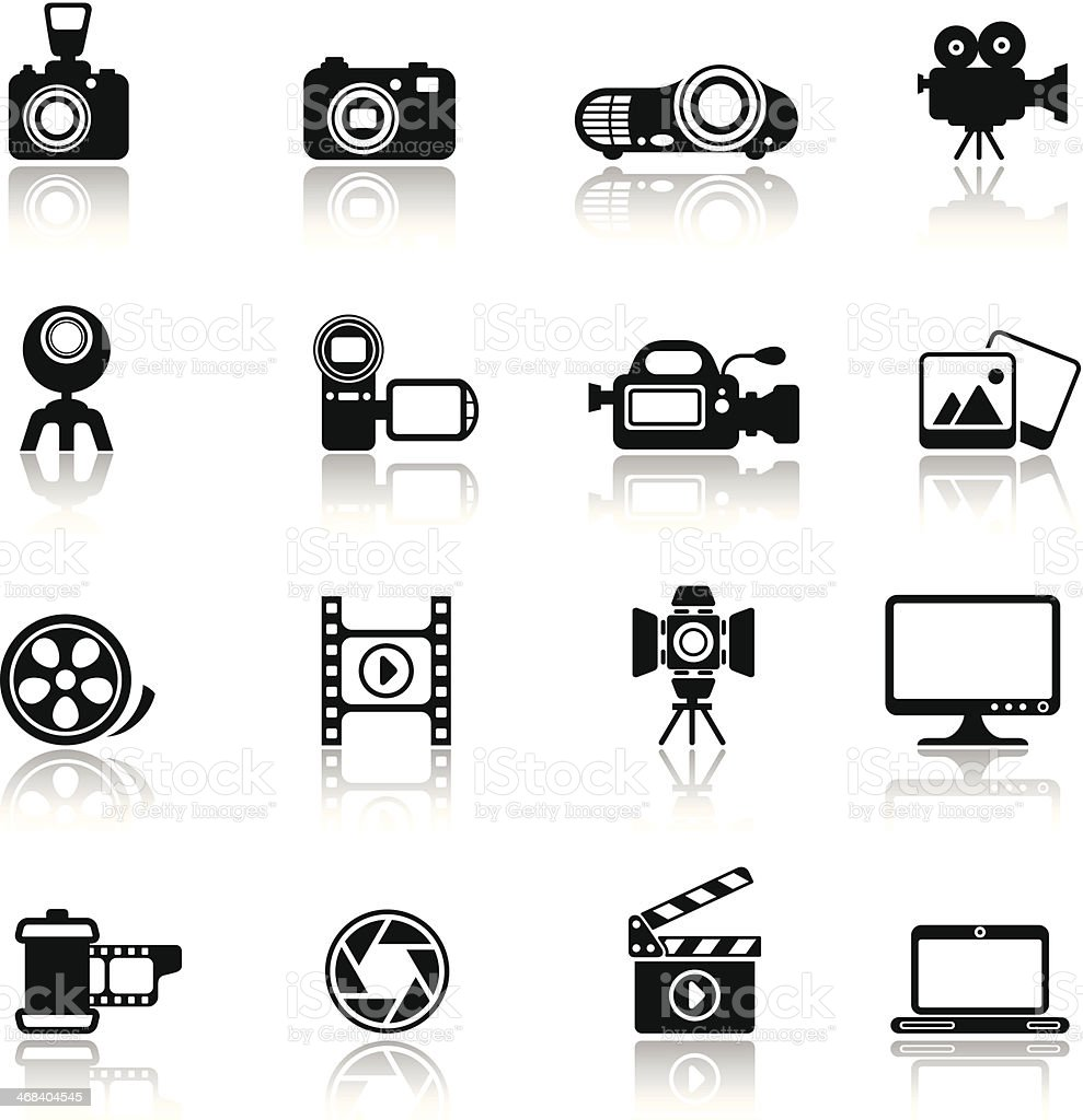 Photo-Video Icon Set vector art illustration