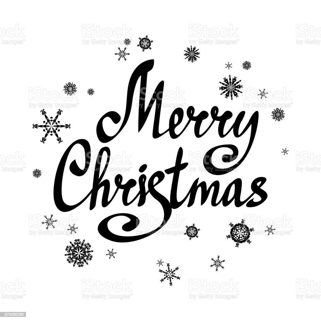 satz frohe weihnachten schriftzug mit schneeflocken. Black Bedroom Furniture Sets. Home Design Ideas
