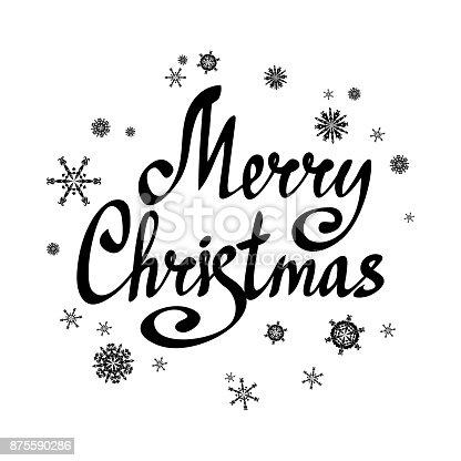 satz frohe weihnachten schriftzug mit schneeflocken kalligraphische text urlaub kartenvorlage. Black Bedroom Furniture Sets. Home Design Ideas