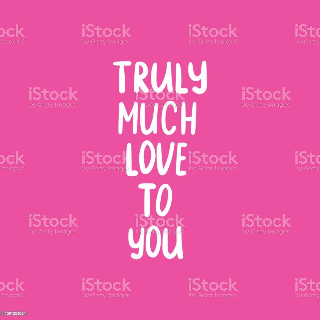 Ilustración De Frase De Texto Realmente Mucho Amor Y Más