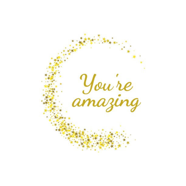 Phrase you're amazing Phrase you're amazing in golden star circlel. Vector banners. Inspirational quote. you re awesome stock illustrations