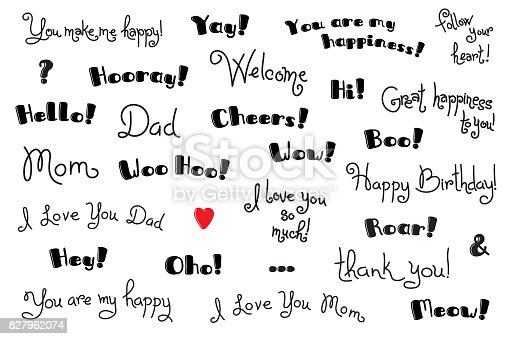 Phrases interjections and exclamation words for for cover poster phrases interjections and exclamation words for for cover poster tshirt greeting card text templates vector set stock vector art more images of aoi m4hsunfo