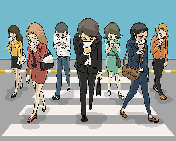 phubbing everybody zebra crossing and looking down at smartphone addict stock illustrations