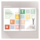 Physical activity leaflet with icons set and brochure layout on background.