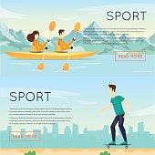 Physical activity people engaged in outdoor sports kayak, skateboarding, summer.