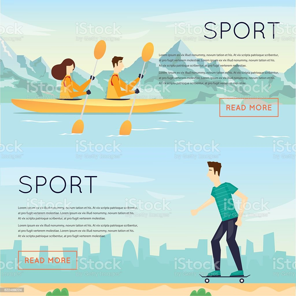 Physical activity people engaged in outdoor sports kayak, skateboarding, summer. vector art illustration
