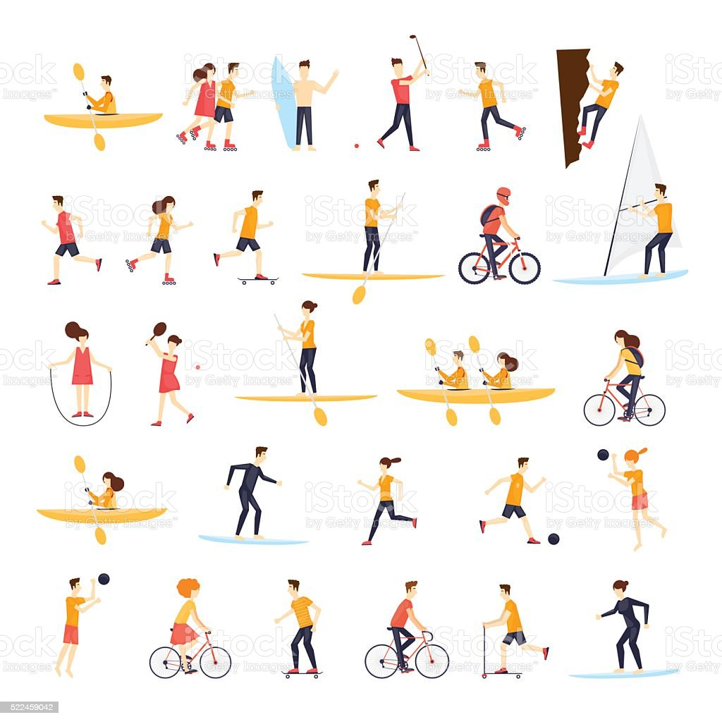 Physical activity people engaged in outdoor sports, running, cycling, skateboarding. vector art illustration