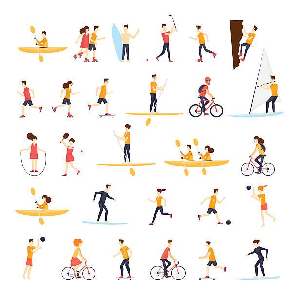 L'activité physique personnes impliquées dans les sports de plein air, la course, le cyclisme, le skate. - Illustration vectorielle