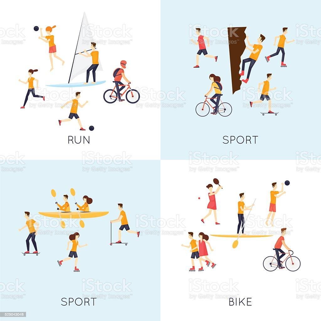 L'activité physique personnes impliquées dans les sport de plein air. - Illustration vectorielle