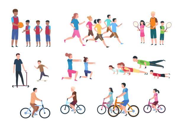 신체 활동. 스포츠 활동에서 부모와 자녀가 있는 사람 플랫 피트 니스 세트. 고립 된 벡터 일러스트 - 가정 물건 실루엣 stock illustrations
