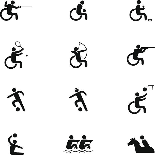 physical disability sports icon set - wheelchair sports stock illustrations, clip art, cartoons, & icons