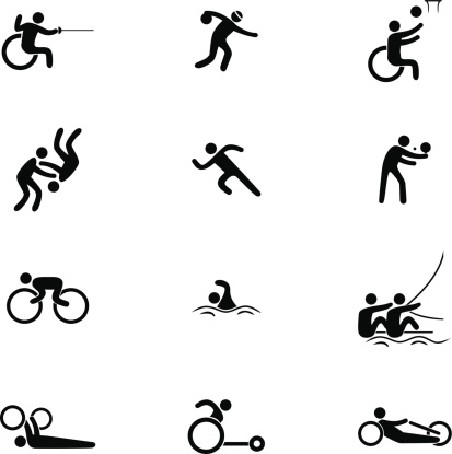Physical Disability Sports Icon Set