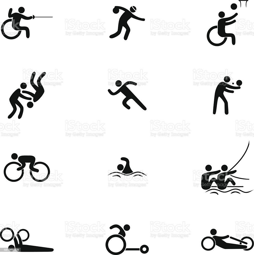 Physical Disability Sports Icon Set vector art illustration