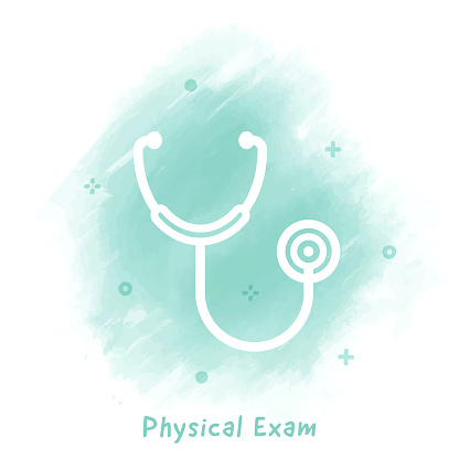 Physical Exam Line Icon Watercolor Background